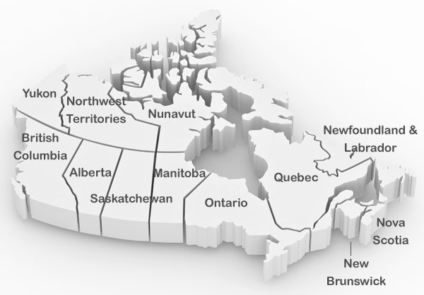 Rental agencies in Canadian provinces and territories