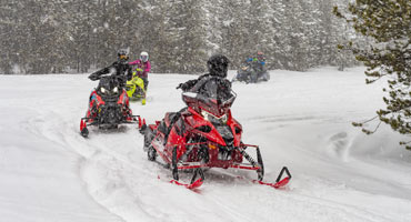 Snowmobilers riding sleds along snow-covered trail